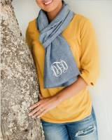 Monogrammed Scarf Cotton Chambray
