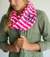 Monogrammed Youth Scarf In Hot Pink And  . . .