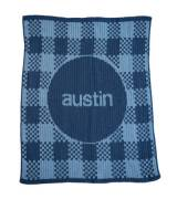 Personalized Knit Gingham Blanket Four Sizes