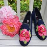 By Paige Ladies Needlepoint Peony On Navy  . . .