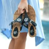 Monogrammed Black Side Buckle Sandal