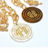 Monogrammed Necklace Engraved Gold-Tone Rope
