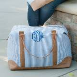 Monogrammed Navy Seersucker Weekender Bag