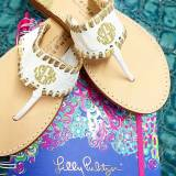 Aubrey Sandals White With Gold Trim And  . . .
