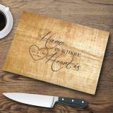 Personalized Glass Cutting Board Pine Wood  . . .