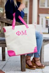 Monogrammed Soroity Hot Pink Trim Shoulder  . . .