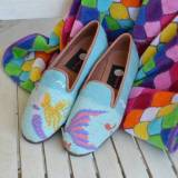 By Paige Ladies Needlepoint Mermaid Loafers