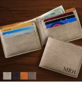 Monogrammed Leatherette Wallet In Four Colors