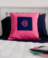 Monogrammed Pillow Cover In Hot Pink
