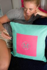 Monogrammed Pillow Cover In Mint Green
