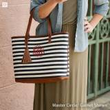 Monogrammed Striped Chandler Tote Bag With  . . .