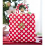 Monogrammed Tote Bag In Red With White  . . .