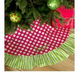Monogrammed Red Tree Skirt With Polka Dots