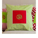 Monogrammed Green Striped Pillow Cover