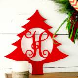 Wood Christmas Tree Monogram Personalize  . . .