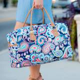 Monogrammed Paisley Travel Duffel Bag