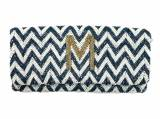 Chevron Pattern Beaded Monogram Clutch