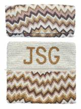 Beaded Zig Zag Interior Monogram Clutch