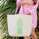 Monogrammed Pineapple Canvas Tote