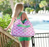 Monogrammed Beach Bag Shelly Print