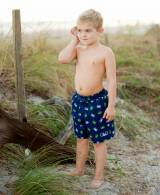 Personalized Crabby Print Boys Swim Trunks