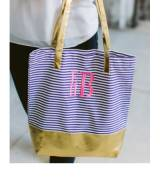 Monogrammed Navy Striped And Metallic Tote