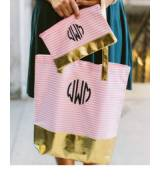 Monogrammed Pink And Metallic Block Tote Bag