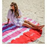 Monogrammed Round Red  Striped Beach Towel