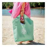 Monogrammed Jute Beach Tote In Mint