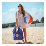Monogrammed Jute Beach Tote In Navy