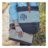 Monogrammed Grey Lundy St Tote