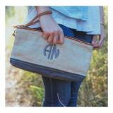 Monogrammed Grey Lundy St Clutch