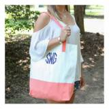 Monogrammed Coral Color Block Tote