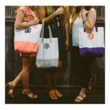 Monogrammed Grey Color Block Tote