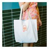 Monogrammed White Canvas Everyday Tote