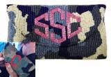 Beaded Camouflage Monogram Clutch