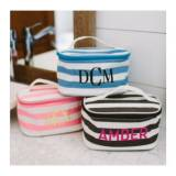 Monogrammed Striped Cosmetics Bag