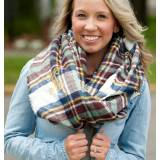 Monogrammed Blue And Wine Plaid Londyn  . . .