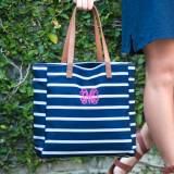 Personalized Navy Stripe Tote