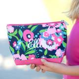 Monogrammed Pretty Posie Cosmetic Bag