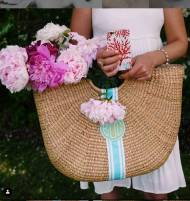 Queen Bea Monogrammed Extra Large Half Moon Beach Basket