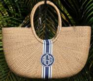 Queen Bea Monogrammed Extra Large Florida Shoulder Basket
