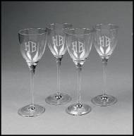 Personalized Set Of Four Tuscany White Wine Glasses