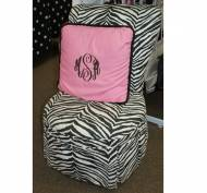 Zebra Chair With Pink Pillow Larger Interlocking Monogram Done In ...