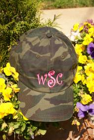 Camo Hat With A Pink Monogram