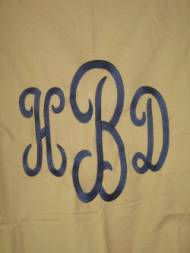 Khaki Shower Curtain With Navy Monogram