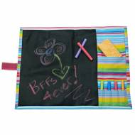 Monogrammed Pink Stripe Chalkboard Placemat