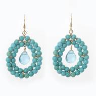 Wimberly Inc Beaded Double Row Petal Drop Earrings In Turquoise