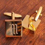 Monogrammed Polished Brass Square Cufflinks
