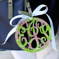 Lilly Acrylic Triple Initial Monogram Luggage Tag